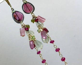 30% SALE Watermelon Tourmaline Slice Long Dangle Earrings 14kt Gold Fill Ruby, Pink Sapphire and Prehnite Multicolor Gemstone Long Boho Chic