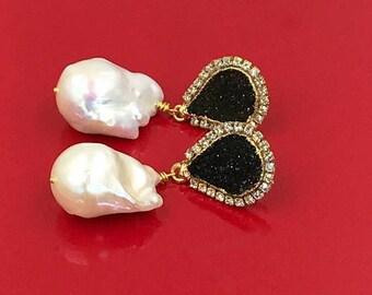 FLASH SALE Druzy Earrings Black Druzy Earrings Swarovski Crystal Diamond Look Baroque Pearl Dangle Earrings Beach Wedding Statement Bridal E