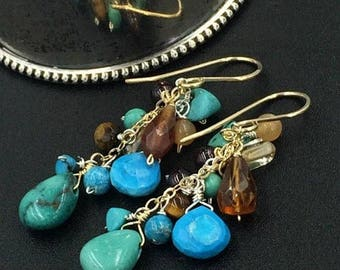 SUMMER SALE Turquoise Earrings Dangle Earrings 14k Gold Fill Wire Wrap Colorful Gemstone Earrings Hessonite Garnet Citrine Turquoise Rustic