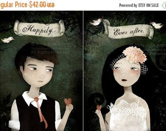 10% Off - Summer SALE Happily ever after - Set of 2 prints - The Groom and The Bride - Deluxe Edition Prints