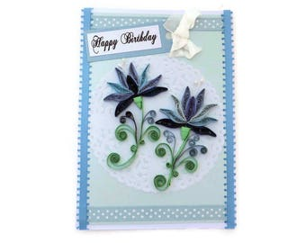 Free Ship Paper Quilling Card Blue Snowdrops, Paper Quilled Blue Flowers Card, Free Shipping, Birthday, Mom Doily Floral Art,Australia