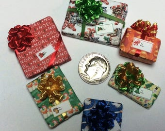 Six Assorted Miniature Christmas Packages set #207