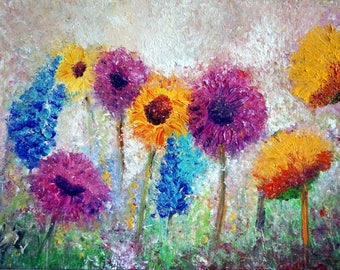 Large Painting Flowers Meadow on Big Canvas Impasto Oil Fall Floral Large Artwork Ready to Ship 36x24