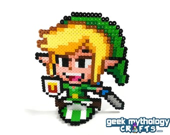 Toon Link - Nintendo Super Smash Bros - Perler Bead Sprite Pixel Art Figure Stand or Lanyard Necklace