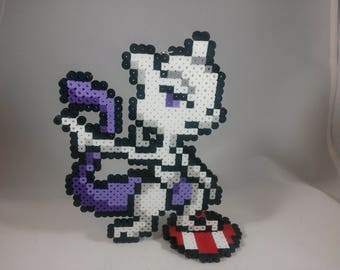 Mewtwo - Pokemon - Nintendo Super Smash Bros - Perler Bead Sprite Pixel Art Figure Stand or Lanyard Necklace