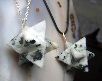 Moonstone Merkaba crystal stone necklace pendant or pendulum  - Sacred geometry meditation star - rainbow white black spectrolite - NS34