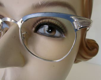 Vintage Cat Eye Glasses Eyeglasses Frames 12K Gold Filled Gray and Silver Colored Frames