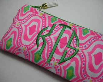 Lilly Pulitzer(Come Out of Your Shell Geometric)Pencil Case,Make Up Bag,Cosmetic Bag,Back to School,Preppy, Stocking Stuffer,Bridesmaid Gift
