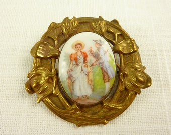 Antique Art Nouveau Brass and Porcelain Plaque Brooch