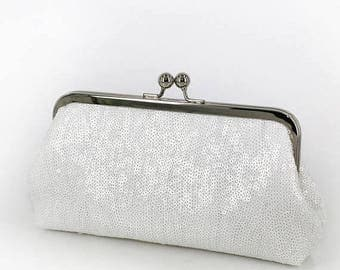 HALF PRICE SALE White Sequins Clutch + silver frame | Bridesmaids | Bridal Clutch | Ready to Ship