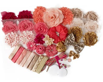 Peaches and Cream : DELUXE DIY Flower Elastic Headband Kit   MAKES 20+ Coral Gold Hair Accessories   Baby Showers + Birthdays