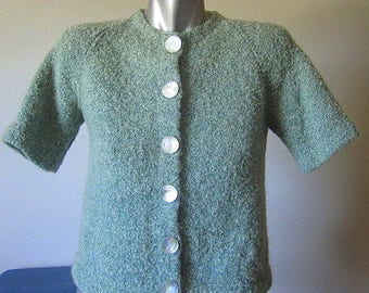 Vintage Baby Blue 60s Short Sleeve Cardigan with Oversized Abalone Buttons Size Medium / Large
