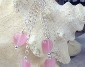 SALE, 50%, Pink Cats Eye Heart dangle earring on silver plated chains for holidays, valentines day, cancer support, chain earrings