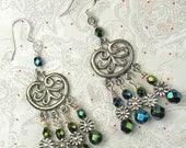 70% SALE Chandeliers with Green Iris Czech beads, green chandeliers, czech beads, green dangle earrings