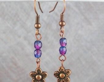 SALE, 50%, Hot blues and purples earrings with Copper Daisy charm, dangle earrings, holiday earrings, czech beads, summertime fun