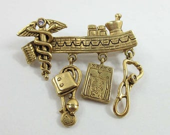 SALE Doctor Brooch Pin Danecraft Nurse PA Gold Tone Signed Medical 9043