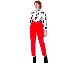 super super flattering BRIGHT RED jeans xs small /  high waisted jeans skinny jeans tapered mom jeans express jeans 90s jeans 90s clothing