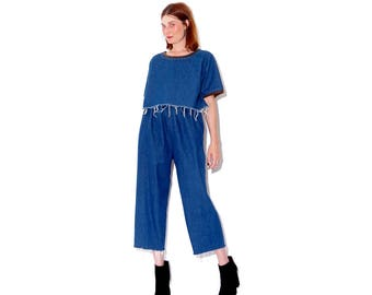 omg most adorable 2 piece DENIM matching set / high waisted jeans mom jeans raw hem oversized crop top cropped denim jumpsuit overalls look