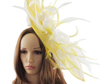 Yellow & White  Fascinator Kentucky Derby or Wedding Hat **SAMPLE SALE