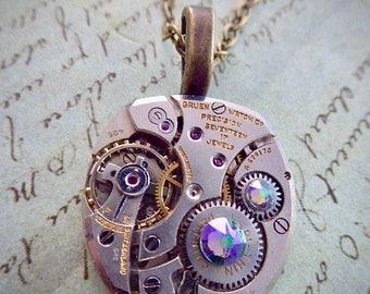 STeampunk pocket watch necklace - Steampunk Necklace - Peridot - Repurposed Art