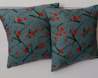 Set of 2 Pillow Covers 16x16, Cherries on Twigs Pillow Covers, Pillow Covers, Decorative Pillows