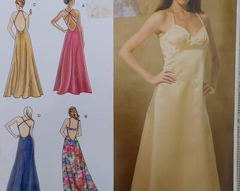 Evening Dress Pattern Simplicity 3735 Misses Evening Dress with back variations Misses Size D5 4 6 8 10 12