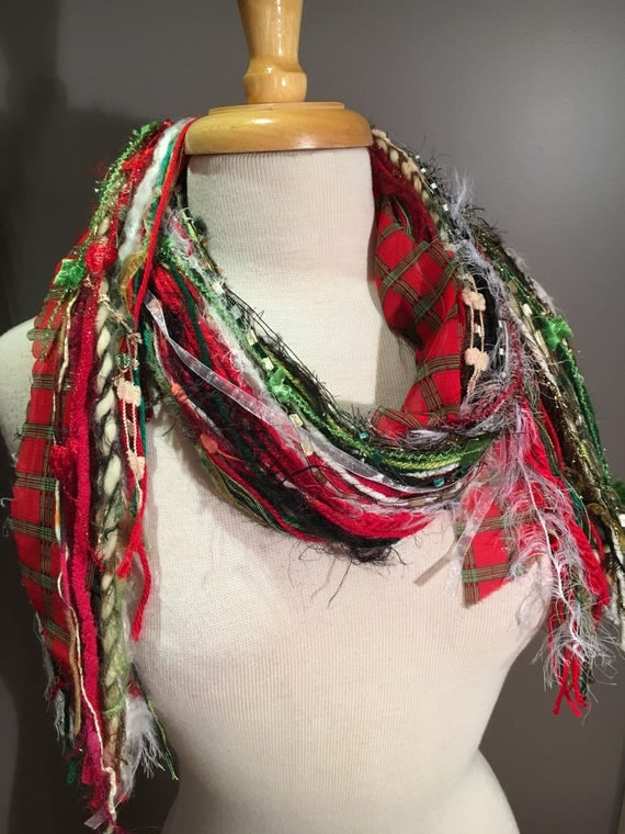 Medium Fringe Scarf, Giftwrap Fringie, Christmas scarf in red green black white with plaid, holiday scarf, ugly sweater alrernative, gifts