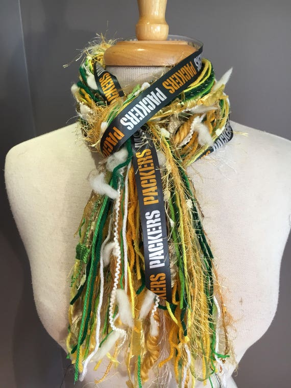 Green and Gold Fringe Scarf, Medium Fringie in Packer, NFL, Packer ribbon scarf, Fringe Handmade Scarf Green Bay Packer, green yellow