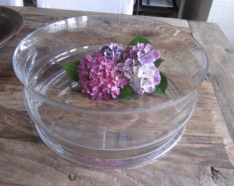 Large heavy vintage glass art bowl