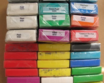 Destash 18 FIMO 1/2 Blocks and 12 Premo Polymer Clay in Various Colors Modeling Clay for Assemblage Mixed Media Steampunk and Jewelry