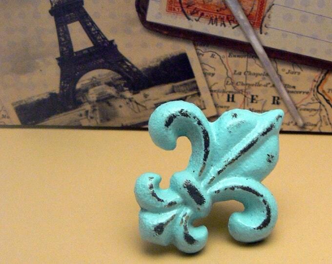 Fleur de lis Cast Iron FDL Drawer Pull  Knob Cabinet Cottage Chic Beach Blue Home Decor