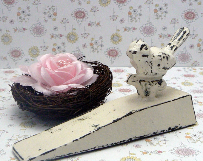 Bird Doorstop Cast Iron Shabby Chic Off White Distressed Nature Fowl Prop