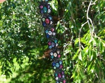 Swarovski crystal macrame bracelet