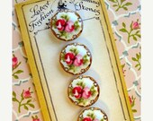ON SALE Gorgeous Pink and Gold Victorian Roses Button Card