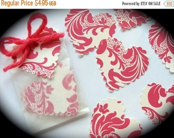 ON SALE 1 Dozen Pretty Scallop Hearts Hand Punched for Scrapbooking or Assemblage