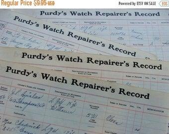 ON SALE Antique Watch Parts Repair Ledgers 1940s