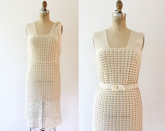 cream crochet dress / 70s crochet dress / Latice Crochet dress