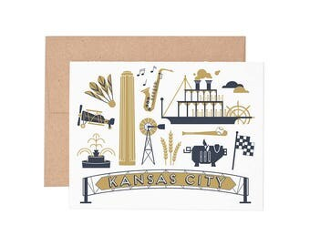 Kansas City Letterpress Greeting Card - Blank Card | Greeting Cards |