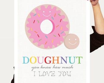 donut love donut art - doughnut print colourful room decor kids nursery art children baby girl quote pink funny food dessert kids wall decor