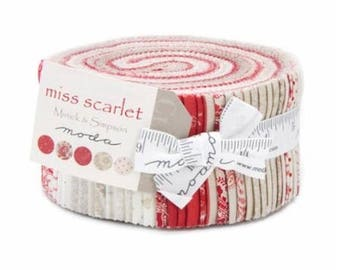 SALE Red Cream Tan Miss Scarlet Jelly Roll Fabric - Minick and Simpson - Moda