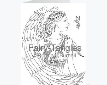 Printable Fairy Tangles Angel Greeting Cards to Color by Norma J Burnell 5 x 7 inch Greeting Cards for Coloring Card Making Angels to Color