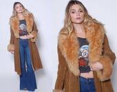 RESERVED for Sara Vintage 70s Suede Coat PENNY LANE Coat Leather & Fur Maxi Jacket Belted Boho Jacket Almost Famous Jacket