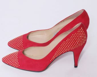 Vintage 80s Red SUEDE Heels Gold STUD Shoes 1980s Stilettos Red Leather Pumps Size 7