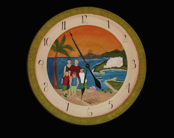 """HANDCRAFTED WOOD CLOCK - Personalized Wall clock - 30"""" diameter - Custom clock - large wood clock - clock - wedding gift - Personalized gift"""
