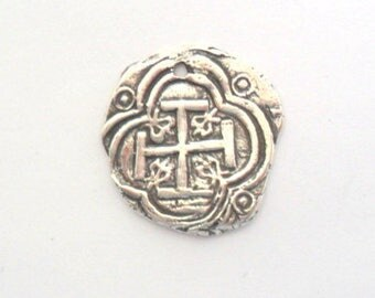 Sterling Silver Roman Cross Coin Finding, Lost Wax Cast