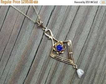 ON SALE NOW Antique Edwardian 10k filigree blue sapphire doublet and pearl lavalier pendant necklace / lavaliere signed Swift and Fisher