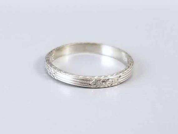 Antique Art Deco 18k white gold carved wedding band ring engraved 1928, size 6, Hi to Leah Belle