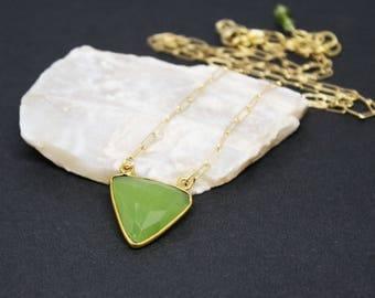 Gold Filled Pendant Necklace, Simple Gold Filled Necklace, Vessonite Gemstone Pendant, Green Pendant Necklace, Triangle Pendant,  N16091