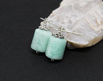 Amazonite Gemstones . Sterling Silver Dangle Drop Earrings . Light Aqua Blue . E16196