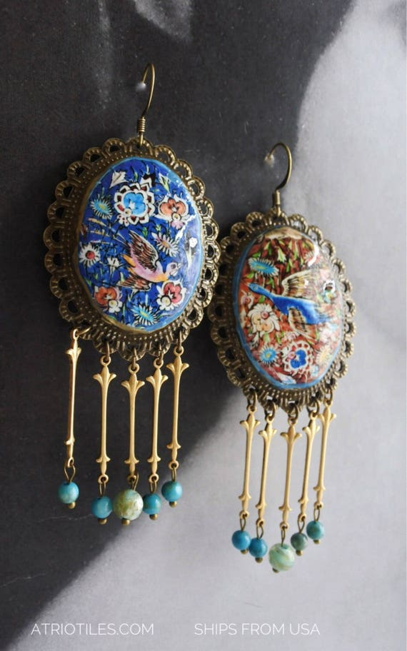 Earrings Persian Tile Birds Antique Earrings Qajar Persia Turkish Arab Bohemian Middle Eastern Majolica Ethnic Birds Ships from USA